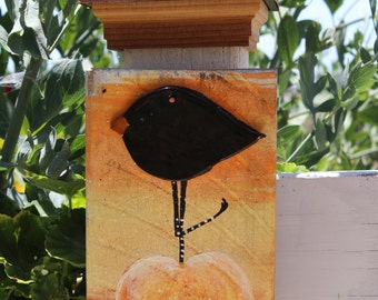 Fall Crow on Pumpkin Plaque