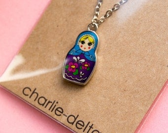 Russian nesting doll pendant necklace