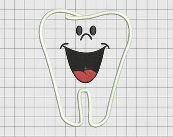 Tooth Smile Applique Embroidery Design in 3x3 4x4 5x5 and 6x6 Sizes