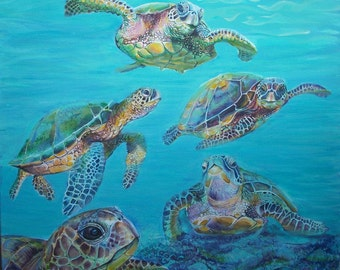 Marine turtles, painted turtles, original painting, the Sea turtles, turtles painting, original painting