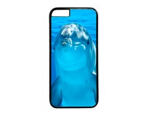 Cute Funny Dolphin in Ocean Black Or White case for iPhone 4 4s 5 5s 5c 6 6s  6 Plus iPod Touch Case