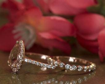 Genesis & Brooke  M- Morganite and Diamond Halo Engagement Ring and Diamond Wedding Band in Rose Gold, Pear Cut Halo, Free Shipping
