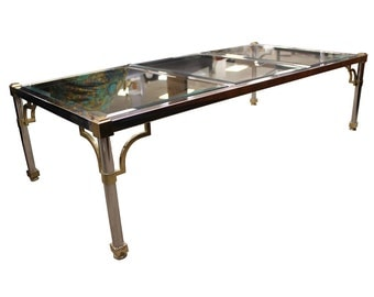 Mid Century Modern Maison Jansen Chrome Brass Glass Coffee Table