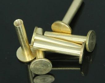 "8 pcs 21 x 9 mm raw brass studs, screw rivets, chicago screw / concho screw, unusual steampunk finding, 1/8"" bolt CSC20"