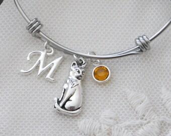 Cat Bracelet, Cat Charm Bangle, Cat Jewelry, Personalized Cat Bracelet, Cat Bangle, Cat Lover Gift, Letter Birthstone, Initial, Custom, BLCB