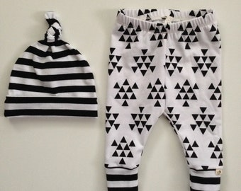 NEW! Newborn Outfit-Leggings and Top Knot Hat-Triangles/Stripes/Toddler leggings