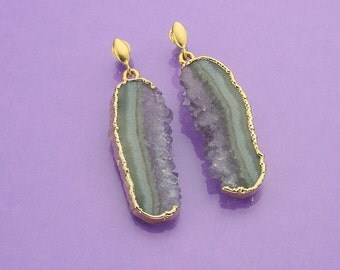 Fabulous amethyst geode slice drop earrings with 24k gold electro-forming and 24k vermeil ear posts