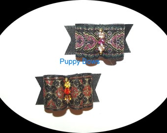 Puppy Bows ~GOLD PURPLE BROCADE show dog bow  pet bands, hair clip or  barrette