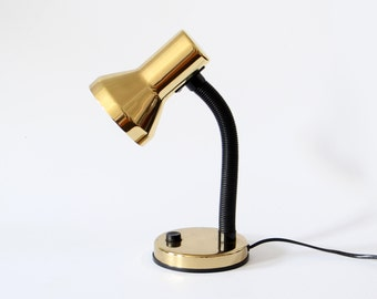 Vintage gold lamp movable desk lamp 1970s space age table lamp black gold metal