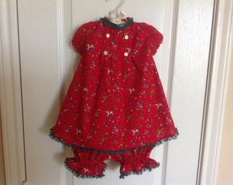"""Baby Girl's Holiday Dress and Bloomers Size 12-18 months--""""Holly"""""""