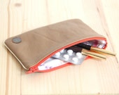 SALES Recycled Genuine Camel Leather Pouch // Make up case Women Handbag // Orange Zipper // Cardholder // POCC11