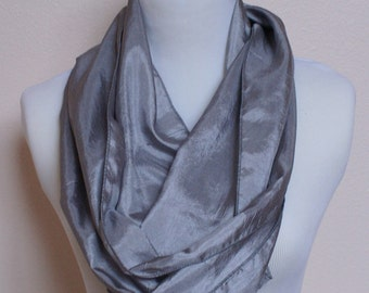 Shimmering silky gray infinity scarf