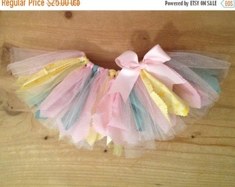 ON SALE Pastel Pink, Yellow, and Green Scrap Fabric Tutu