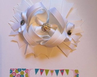 White Over the Top Hair Bow