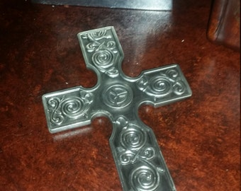 Small Ornate Etched Metal Wall Cross Hanging