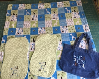 Minky Blanket, Burp Cloth and Bib Set