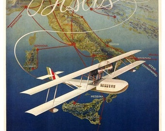 1930's Italian Seaplane Airline Poster A3/A2 Print