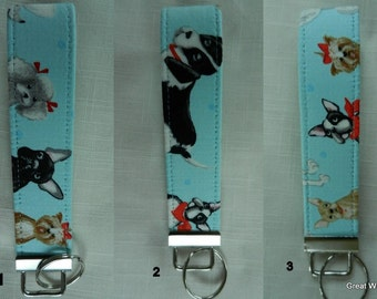 Dogs on Pale Blue fabric  key fob, key chain, wristlet, camera strap, flash drive holder