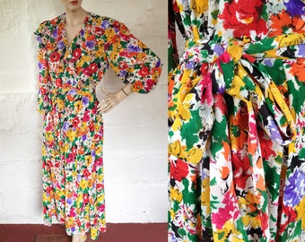 1970s 'Jaeger' Floral Riot Garden Party Dress / 30s Style Day Dress / Vintage Wraparound Dress / Size UK 8/10