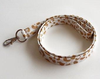 Leopard Print Lanyard / Leopard Keychain / Animal Print / Key Lanyard / ID Badge Holder / Fabric Lanyard / Cheetah / Metallic Gold