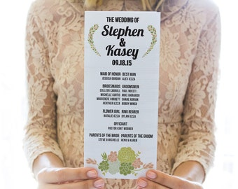 Printed OR Printable wedding program // succulents
