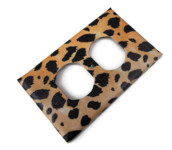 Items similar to leopard print light switch plate leopard for Leopard print bathroom ideas