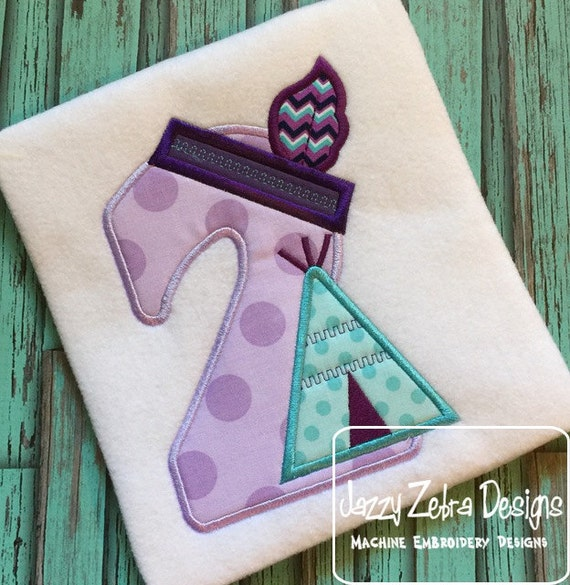 Teepee Two Appliqué Embroidery Design - 2nd birthday appliqué design - two year old - second birthday appliqué design - birthday appliqué