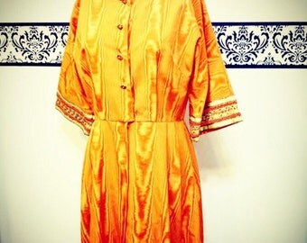 1960's Saks Fifth Ave. Harvest Shimmer Orange 1960's Caftan / Maxi , Size 8 / 10 , Vintage Special Occasion Dress, Couture Maxi Dress