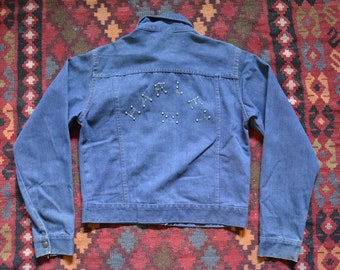 Vintage 1970s Harley denim jacket 1970s studded bedazzled diy