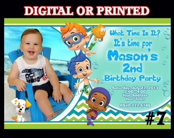 Bubble Guppies Invitations YOU PRINT or PRINTED Photo Birthday invitation, Bubble Guppies party