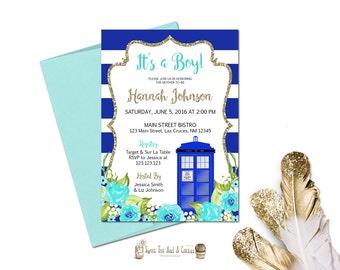 Doctor Who Baby Shower Invitation Boy Blue Tardis Sci-fi Geek Nerd Printable Digital File or Printed Prints