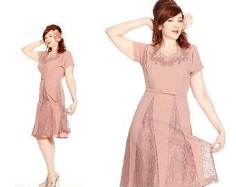 Vintage 1940s or 1950s Dusty Rose Pink Bejeweled Fit and Flare Dress with Lace Insets M or L
