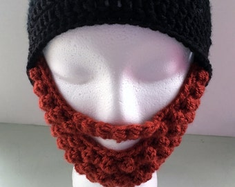Beard Beanie, Baby Beard Hat, Christmas Gift, Funny Beard Beanie, Funny Baby Gift, Halloween Costume, Newborn Beard Hat, Red Bears Hat