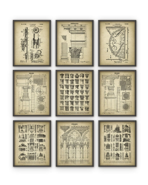 Architect Prints Set Of 9 Architecture Posters Building