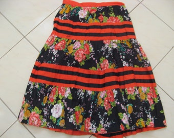 Vintage 70s 80s Cotton FACES Long Tiered Black Floral Skirt Sz Aus 10 US 6 S M