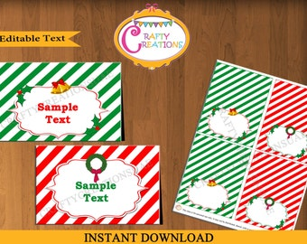 SALE - Printable EDITABLE Chrismas Food Tent Cards - Buffet Cards - Tent Cards - Place Cards - DIY Food Labels - Red Green- Instant Download