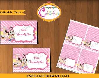 Instant Download - Baby Minnie Mouse Food Tent Cards - Food Labels - Minnie Mouse Birthday Party - Decorations - EDITABLE TEXT - PRINTABLE