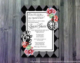 Tea Time Wonderland bridal shower invitation (BS27)