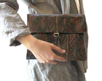 Python Brown Leather Clutch, Mini Crossbody, Clutch Wristlet, Shoulder Bag, Brown Leather Waist Bag, Evening Bag, Night and Day Bag