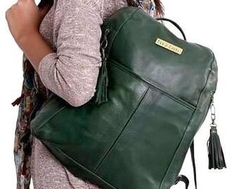 Green Leather Bag, Soft Green Leather Backpack, Soft Leather Backpack, Green Backpack, Green Rucksack, Leather Laptop Bag, Travel Bag