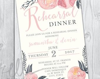 Blush/Navy Floral Rehearsal Dinner Invitation