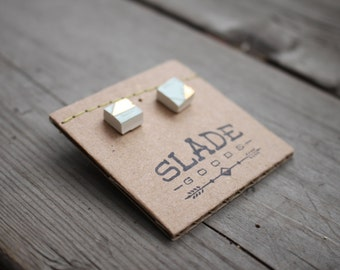 Gold trim on Mint Squares: ceramic stud earrings