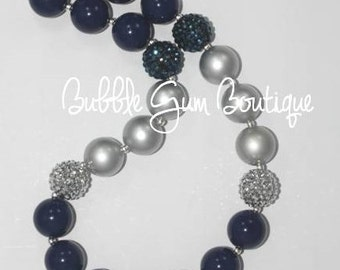 Navy and Silver Bubble Gum Necklace