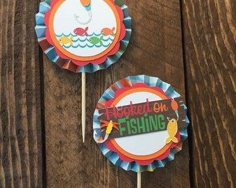 Hooked on Fishing Cupcake Toppers (set of 12)