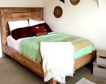 Modern Farmhouse, Waxed Pine Rustic Wood Bed with Natural wood stain + Mixed Textures. Bohemian, Light Wood. King Bed, Queen, Bed, Twin, Bed