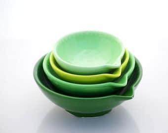 Measuring bowls, Ceramic bowl, Ombre greens bowls, Kitchen Hostess Gifts, Nesting Prep Bowls,kitchen Serving , Home Decor,  Handmade Pottery