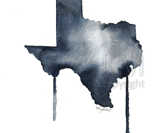 Print of Original Watercolor Painting - Texas State Map print - Office decor and home decor