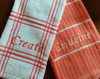 Kitchen Towels Embroidered with Encouraging Words - set of 2