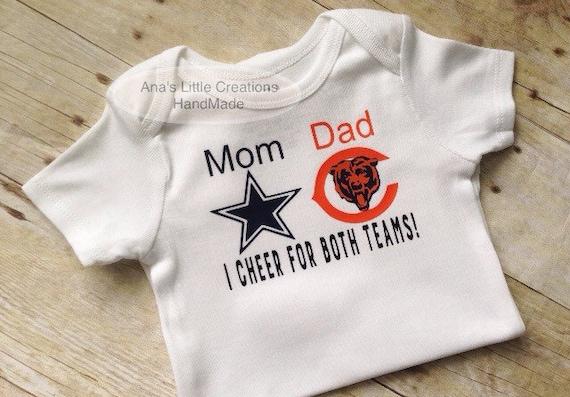 Custom House Divided Bodysuit (Dallas Cowboys- Chicago Bears) I Cheer For Both Teams