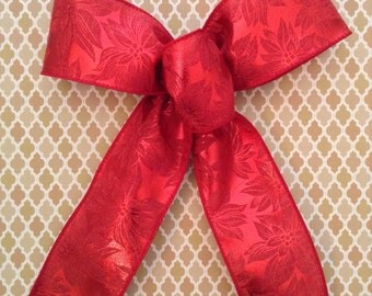Christmas Red Decorative Bows / Christmas Tree Bows / Wreath Bows / Red Poinsettia Pattern Bows / Set of 6 / Handmade